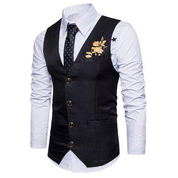 Single Breasted Floral Embroidered Waistcoat - BLACK S