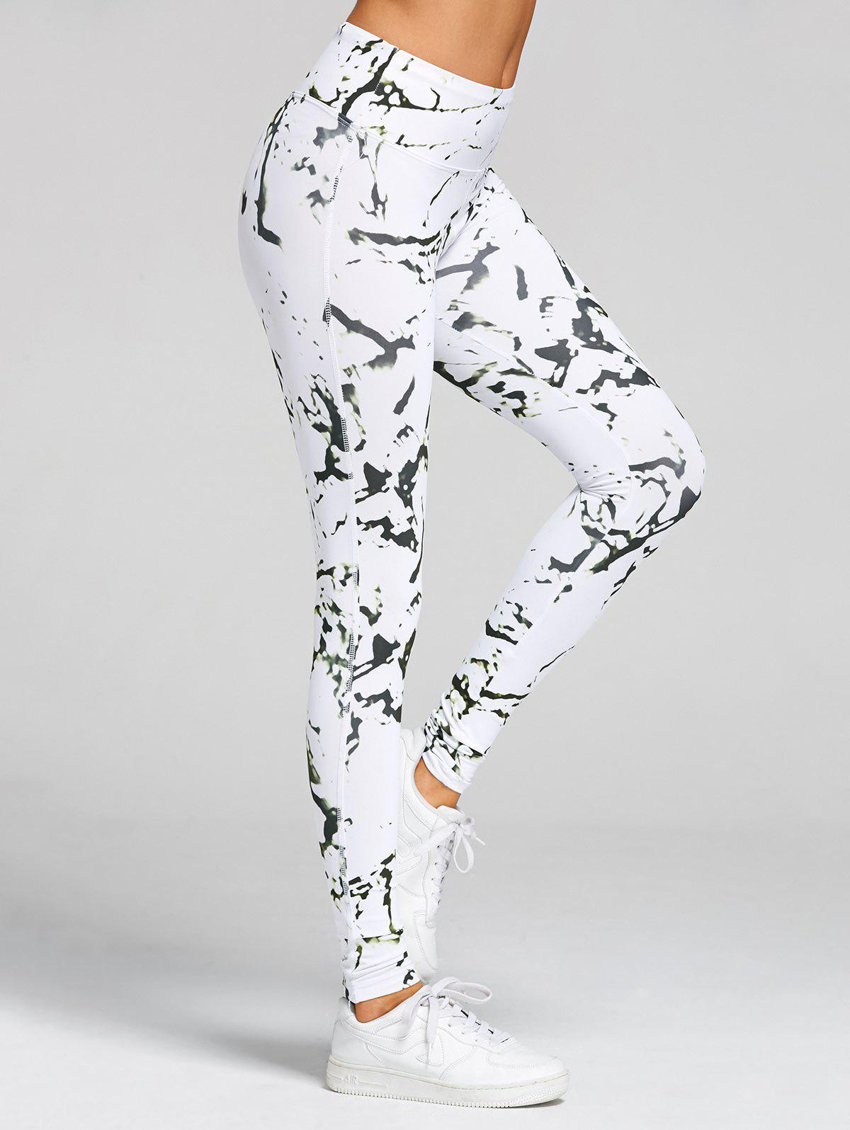 High Waist Printed Skinny Gym Leggings - WHITE L
