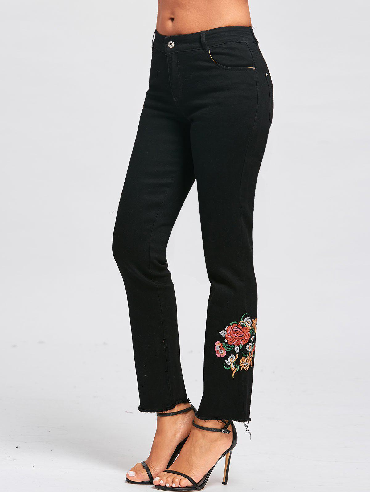 Floral Embroidered Zipper Fly Jeans - BLACK L