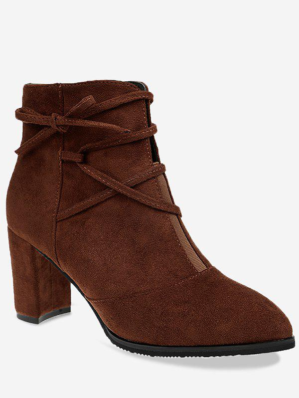 Criss Cross Pointed Toe Ankle Boots - BROWN 39