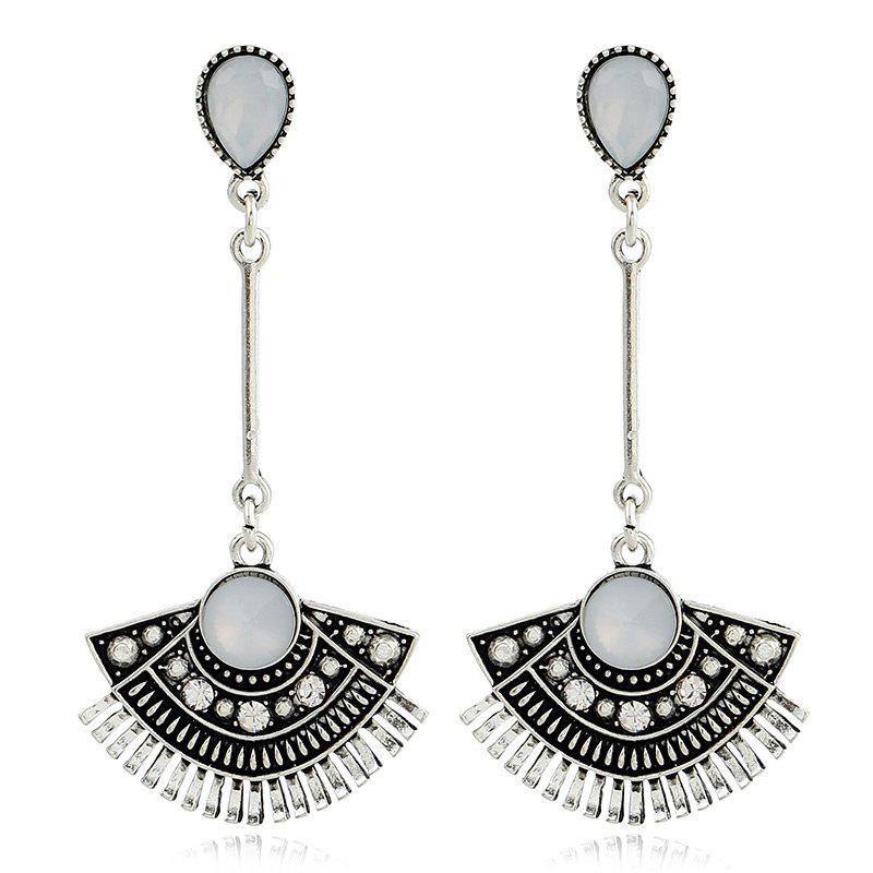 Rhinestone Waterdrop Sector Pendant Earrings - SILVER
