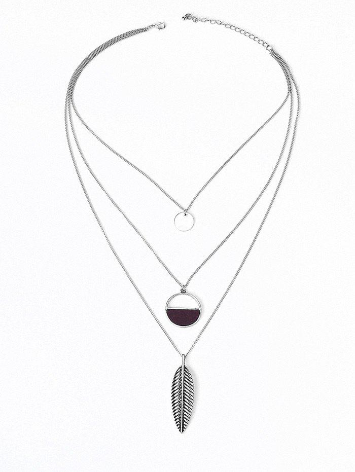 Hollow Half Round Plume Three Layered Necklace - Argent