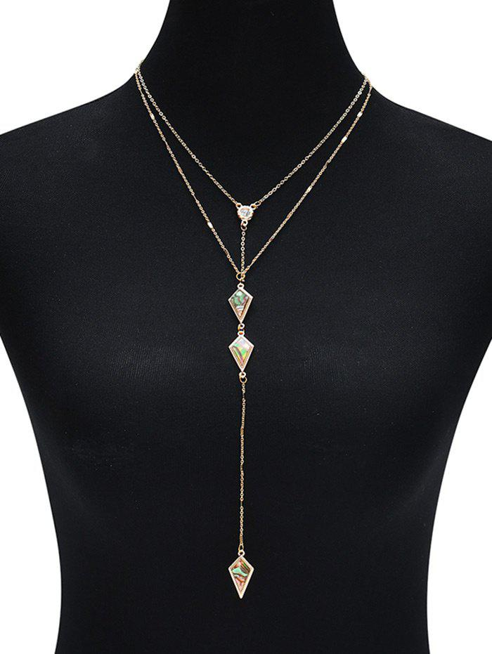 Illusion Pattern Rhombus Two Layered Necklace - Or