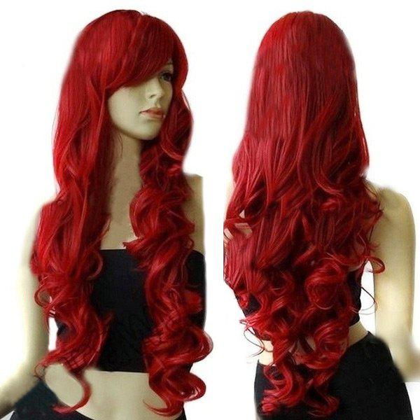 Ultra Long Side Fringe Curly Cosplay Synthetic Wig - RED