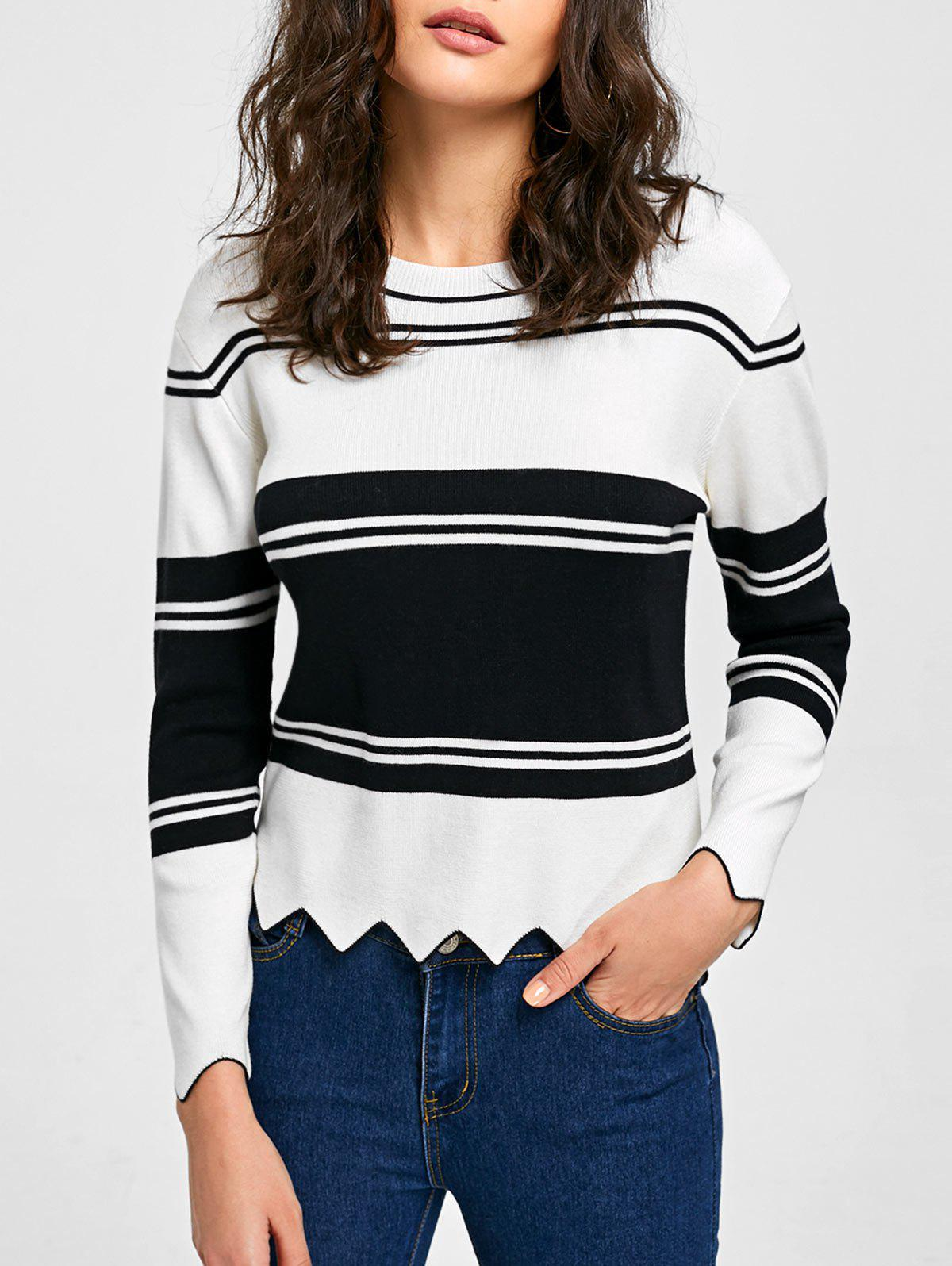 High Low Drop Shoulder Trim Sweater - WHITE/BLACK L