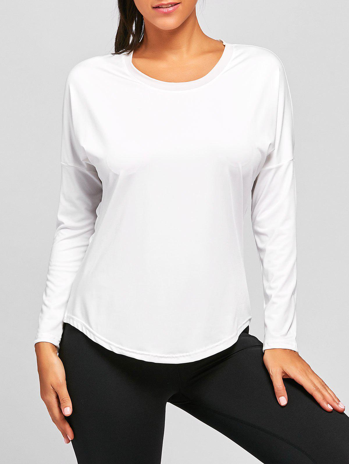 See Through Sports Long Sleeve T-shirt - WHITE S