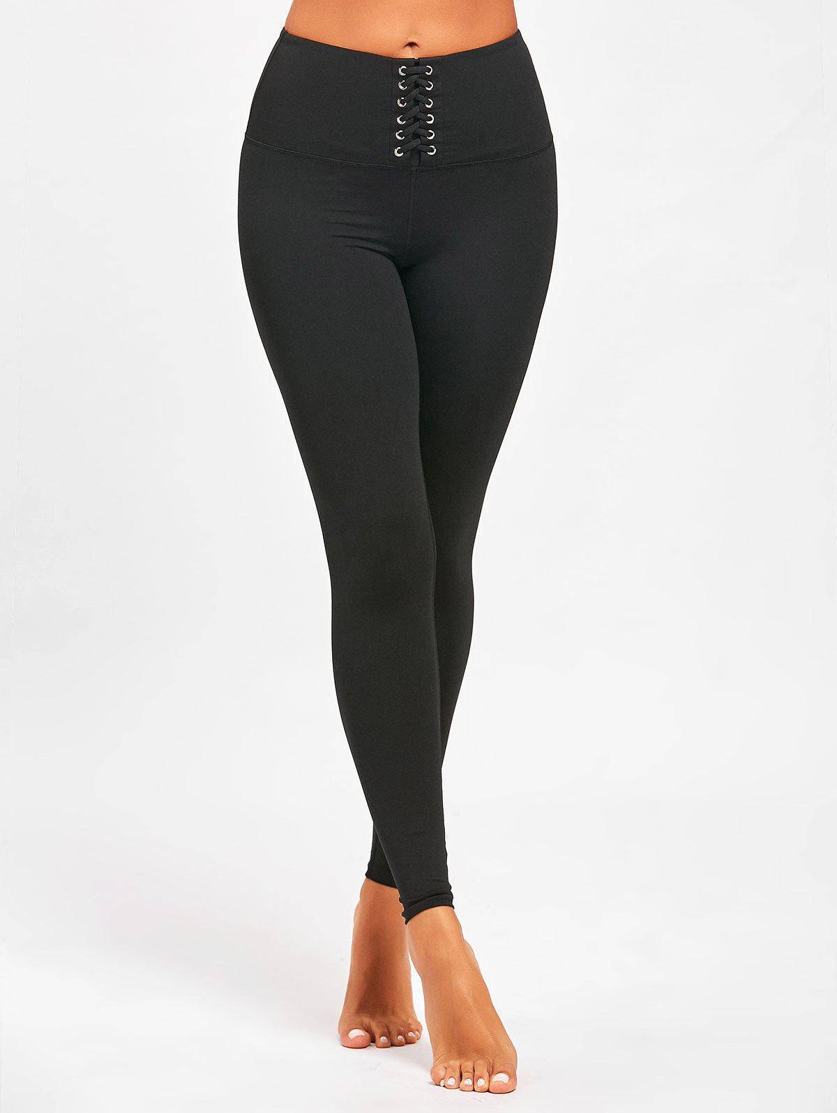 Criss Cross High Rise Sports Leggings, BLACK, L in Pants ...