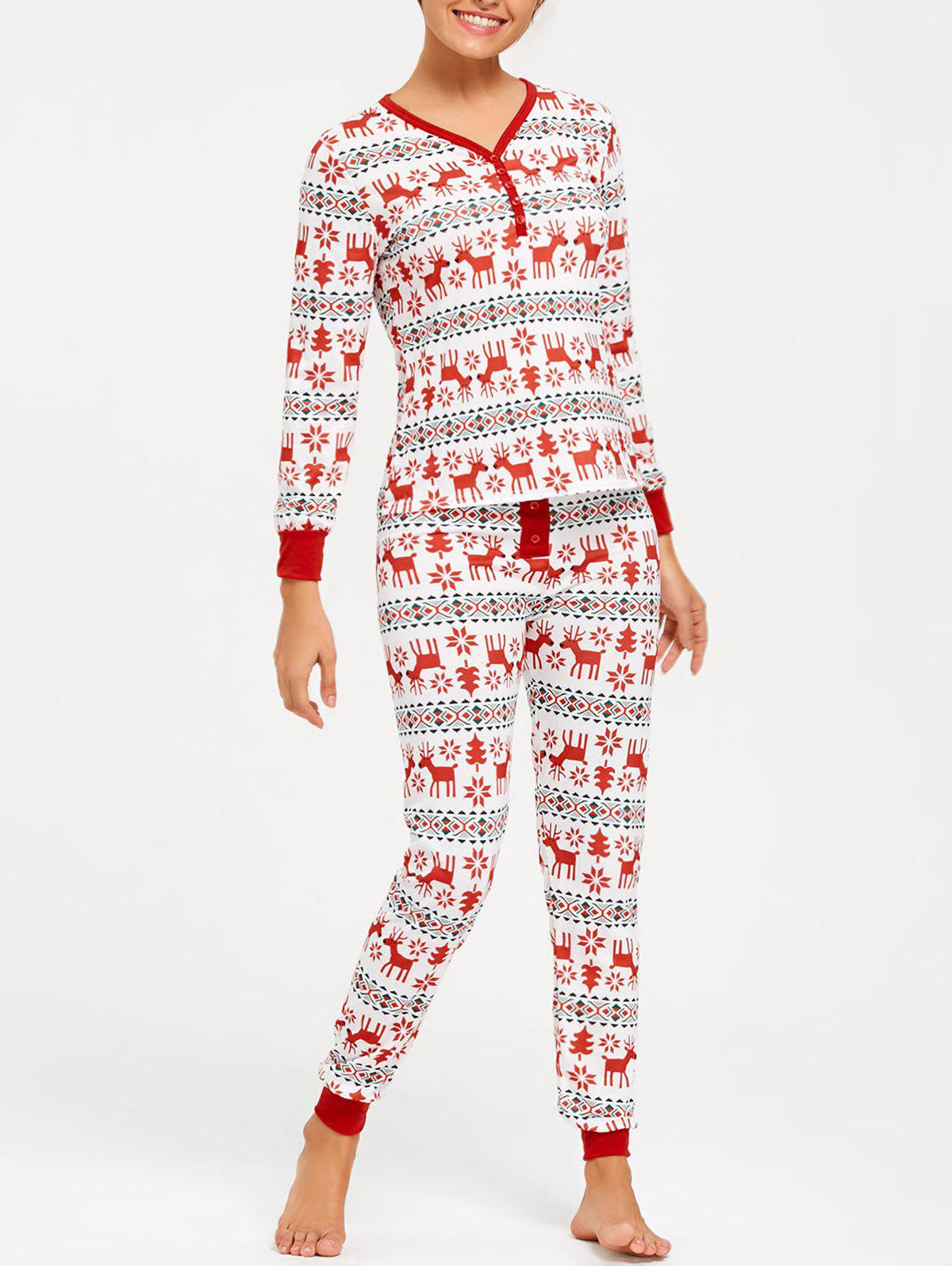 Elk Print Christmas Pajama Set - COLORMIX XL