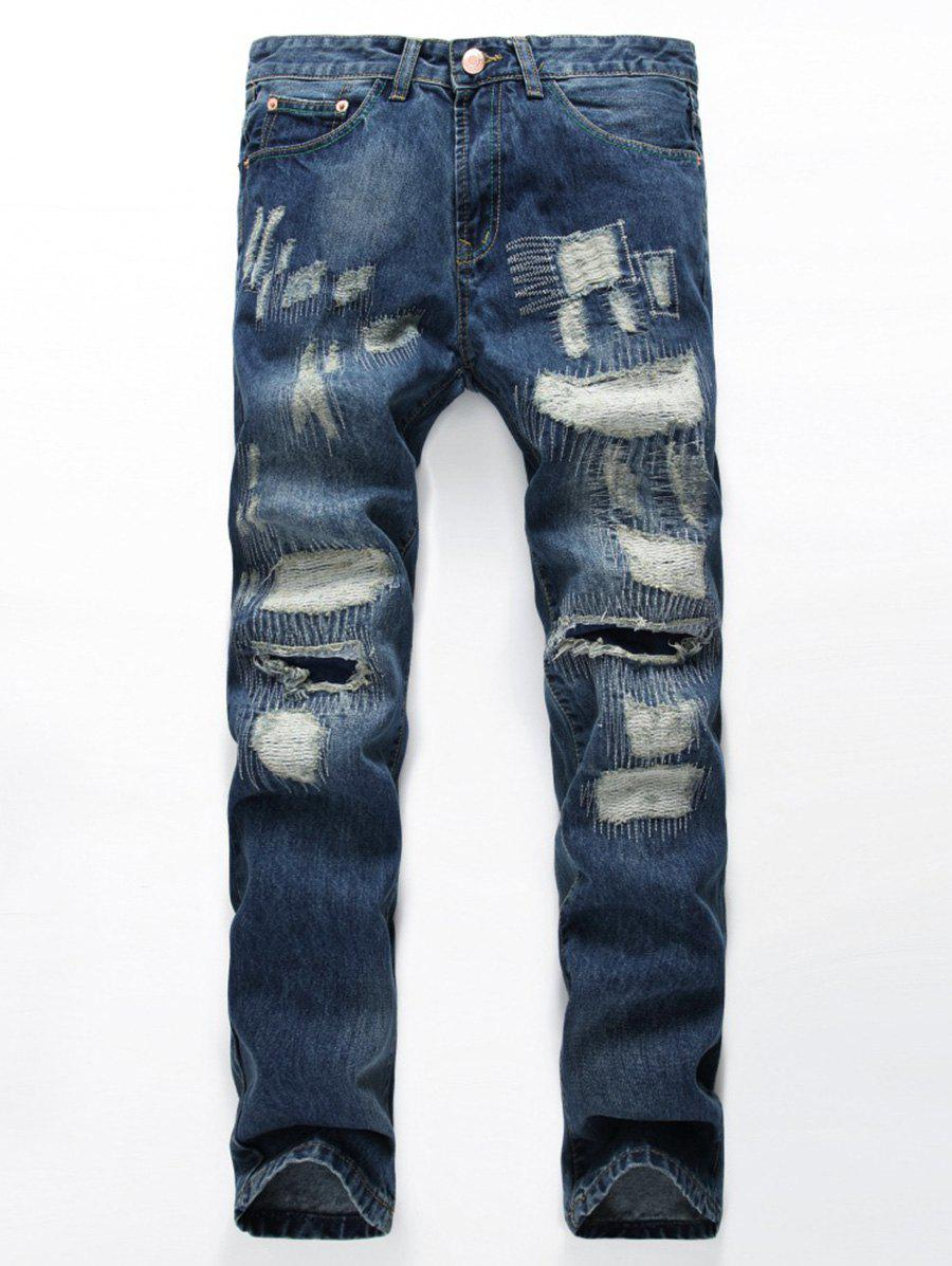 Zig Zag Stitched Ripped and Repair Jeans - BLUE 30