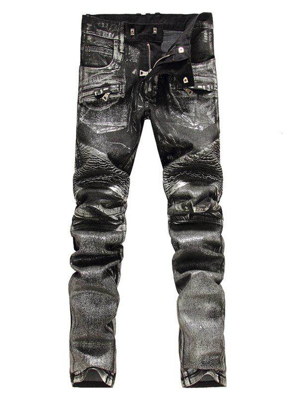 Zip Embellish Painted Slim Fit Biker Jeans - Noir 36