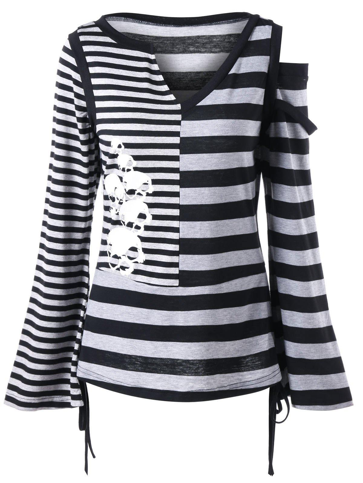 все цены на Cut Out Striped Flare Sleeve Top