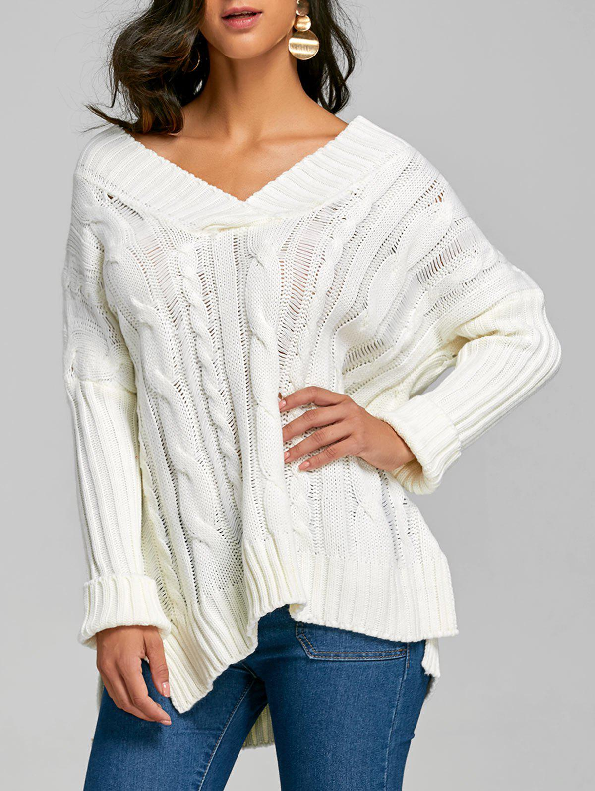 Dolman Sleeve Cable Knit Slit Sweater - Blanc ONE SIZE