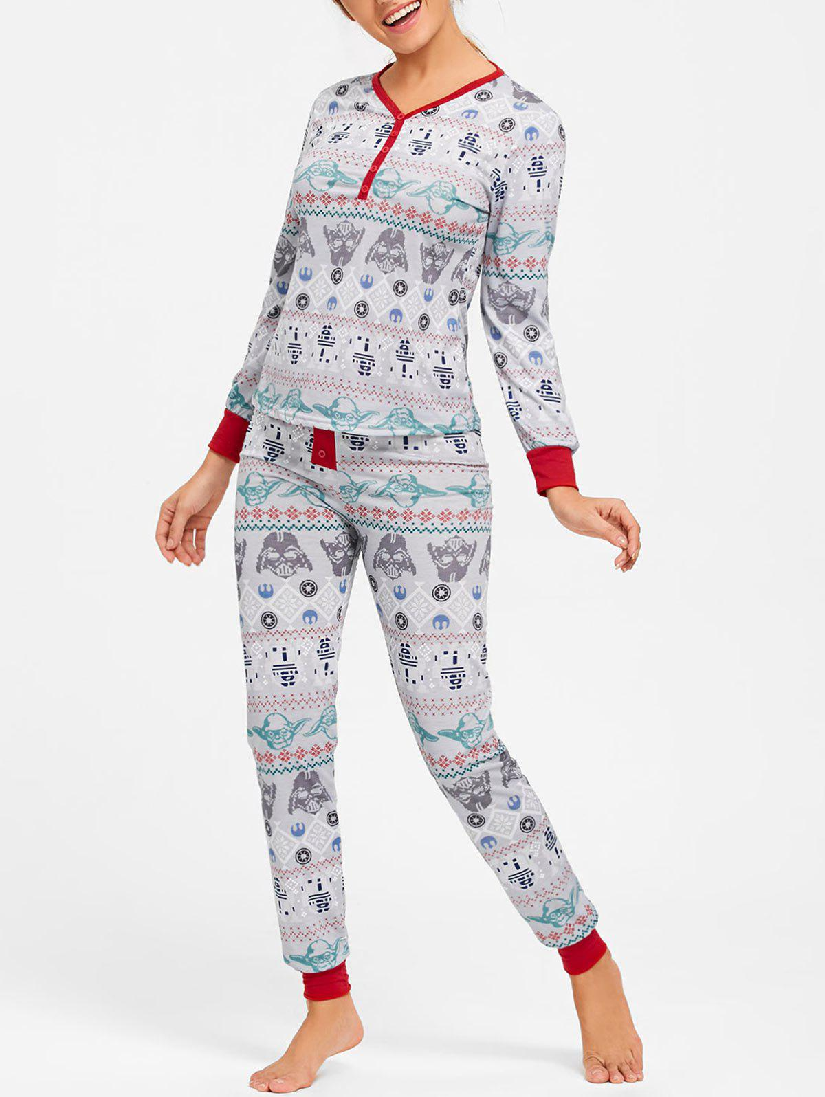 Printed Christmas Pajama Set - COLORMIX L