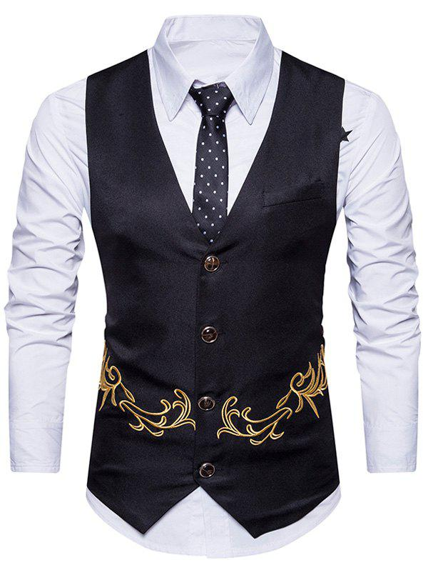 Single Breasted Embroidered Belt Waistcoat - BLACK S