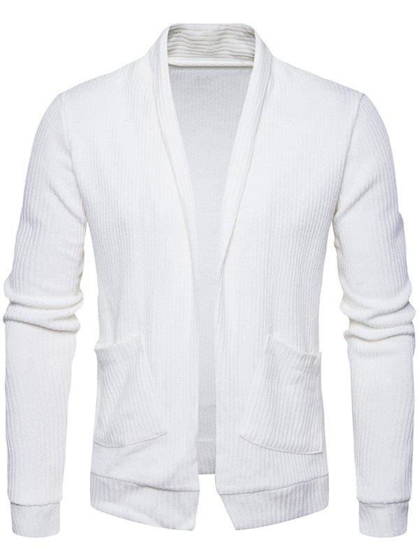 Pockets Knit Open Front Cardigan - WHITE 2XL
