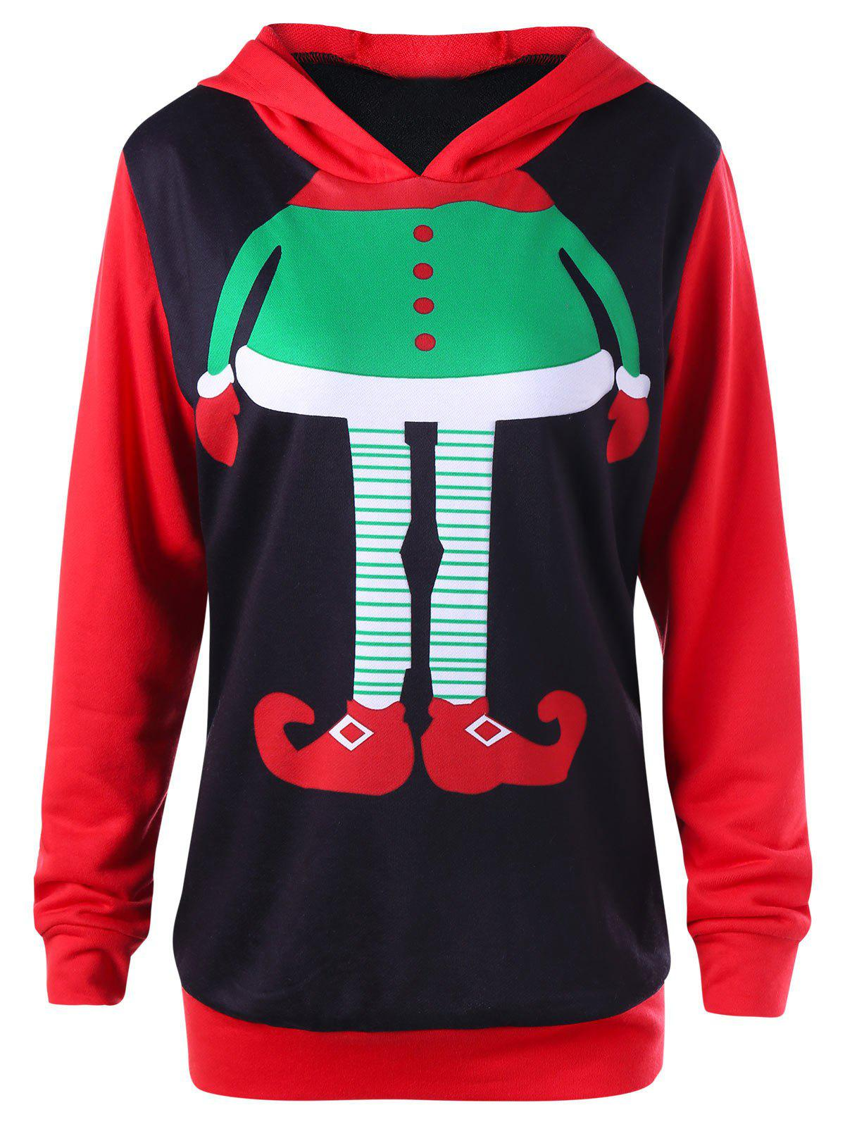 Plus Size Christmas Cartoon Print Hoodie plus size drawstring hoodie with christmas decoration print