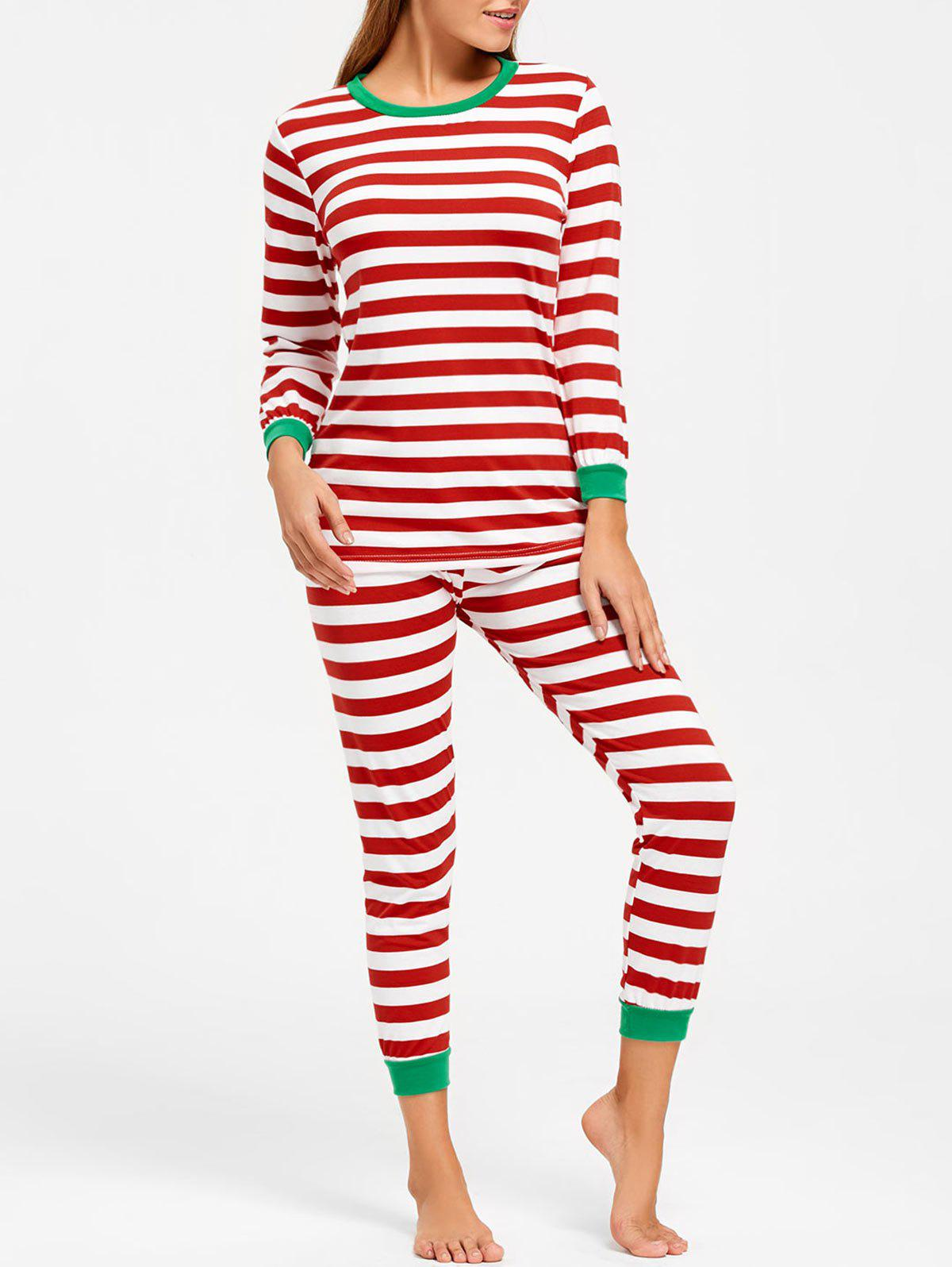 Striped Christmas Pajama Set - COLORMIX M