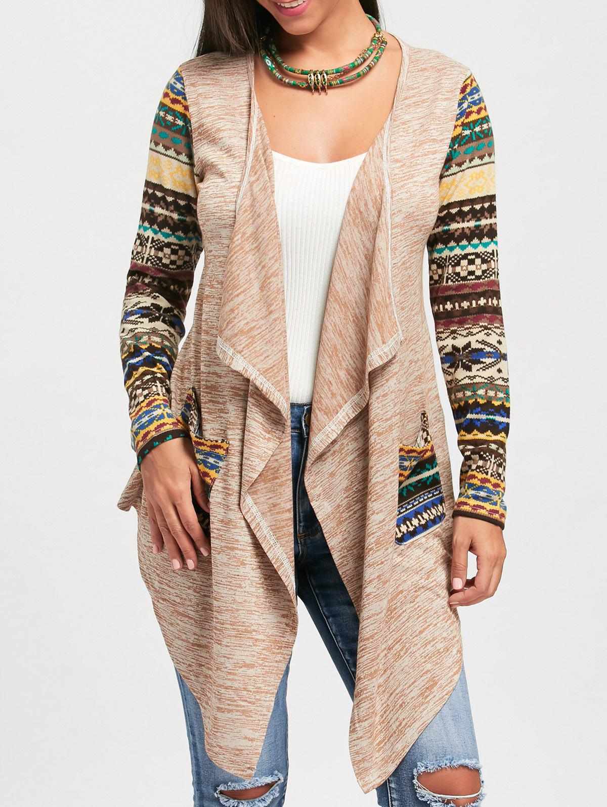 Long Sleeve Snowflake Print Draped Cardigan - COLORMIX 2XL