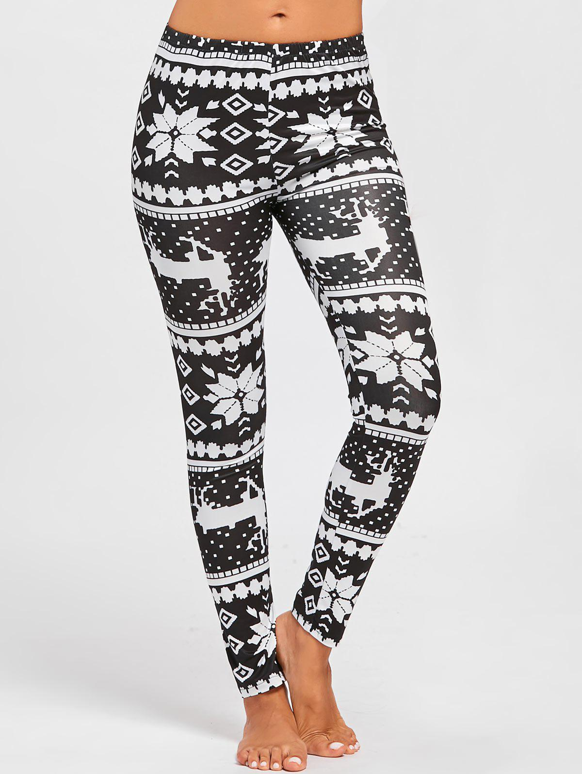 Christmas Deer Snowflake Pattern Leggings - BLACK WHITE M