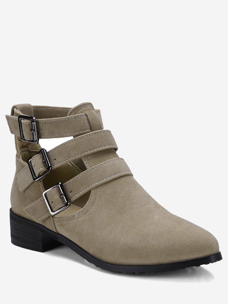 Hollow Out Ankle Buckle Strap Boots - BEIGE 40