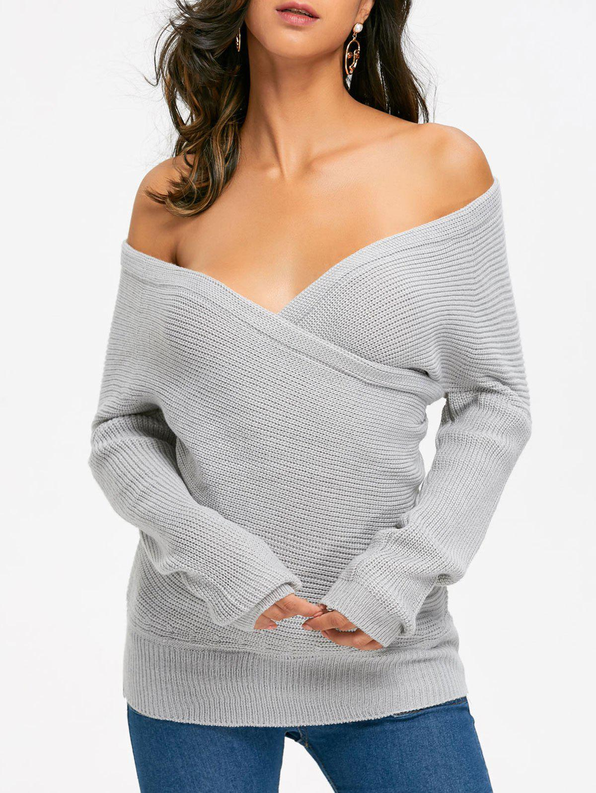 off shoulder surplice sweater gray one size in sweaters. Black Bedroom Furniture Sets. Home Design Ideas