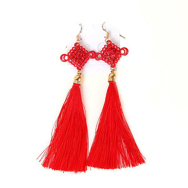 Tassel Chinese Knot Fish Hook Earrings - RED