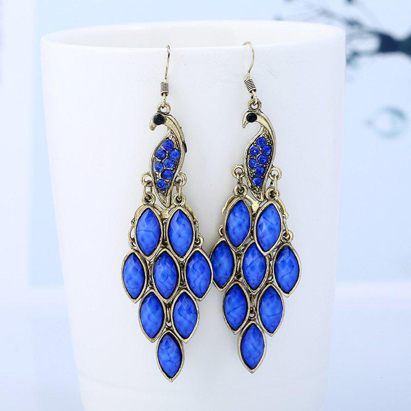 Peacock Fish Hook Earrings - BLUE
