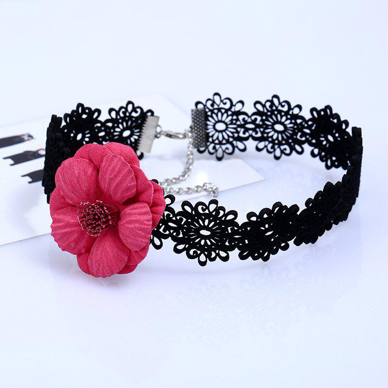 Fake Flower Lace Choker - RED