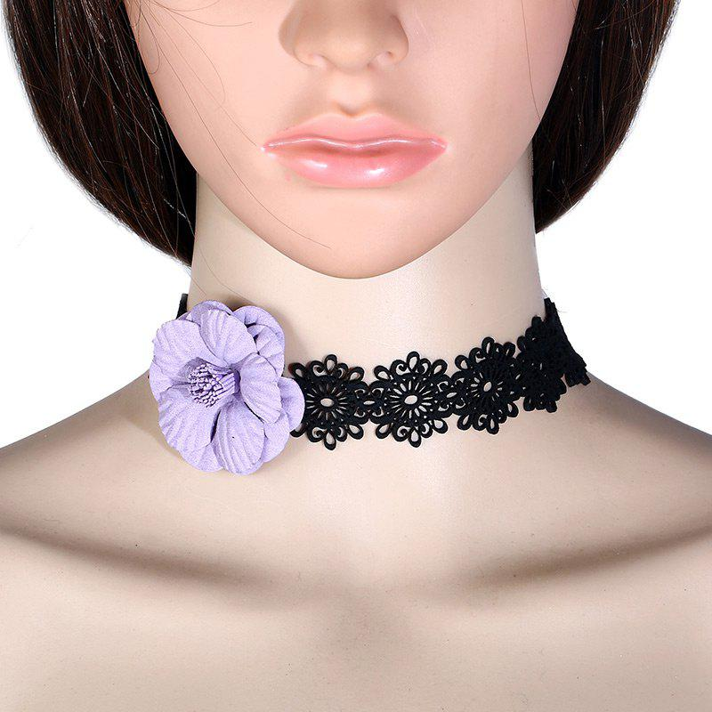 Fake Flower Lace Choker - LIGHT PURPLE