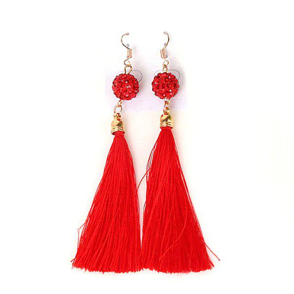 Tassel Faux Ruby Ball Fish Hook Earrings - RED