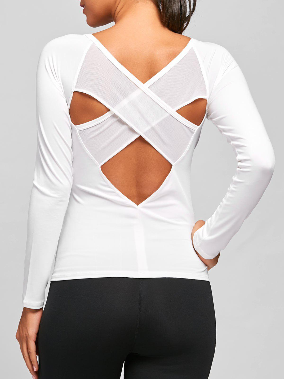 Back Cutout Criss Cross Tee - WHITE S