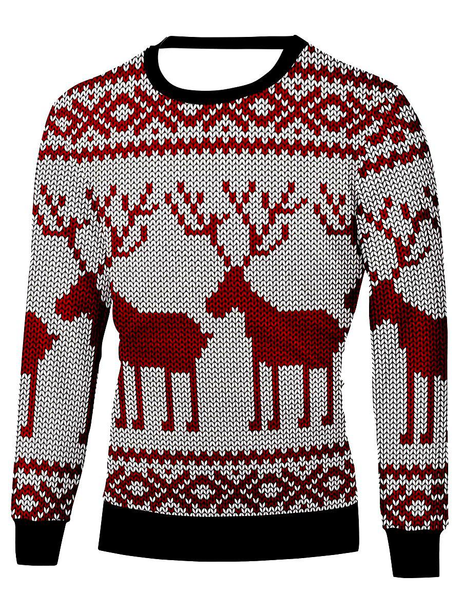 Christmas Elk Printed Crew Neck Sweatshirt christmas elk printed crew neck sweatshirt