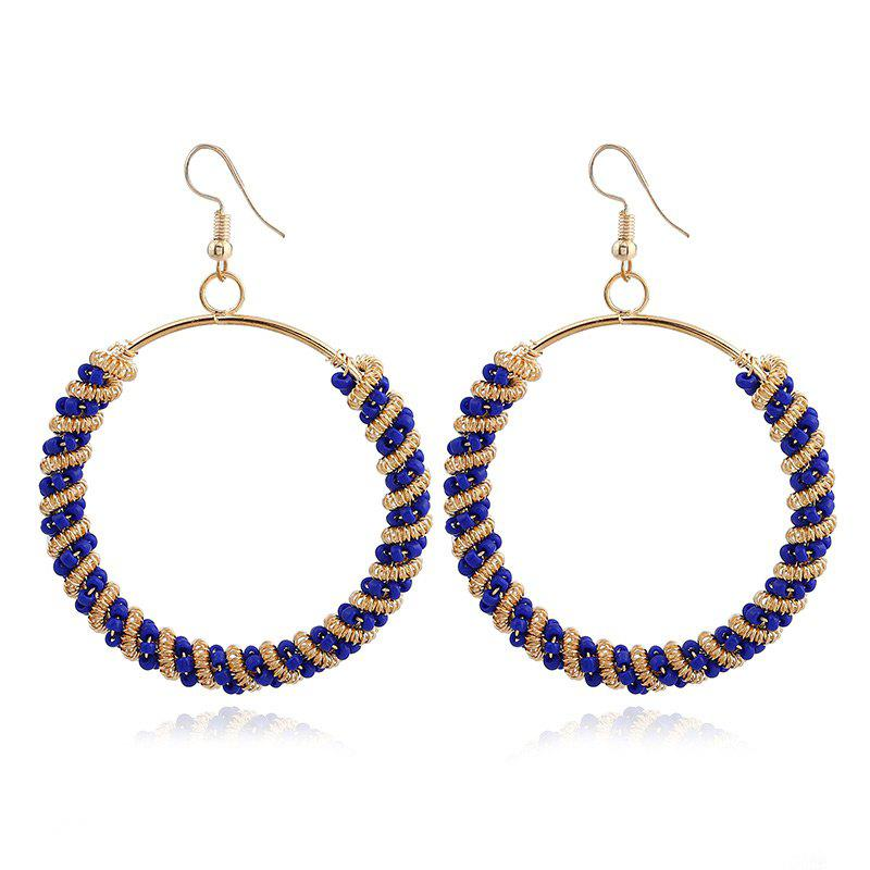 Bohemian Circle Beaded Hoop Drop Earrings bow detail hoop drop earrings