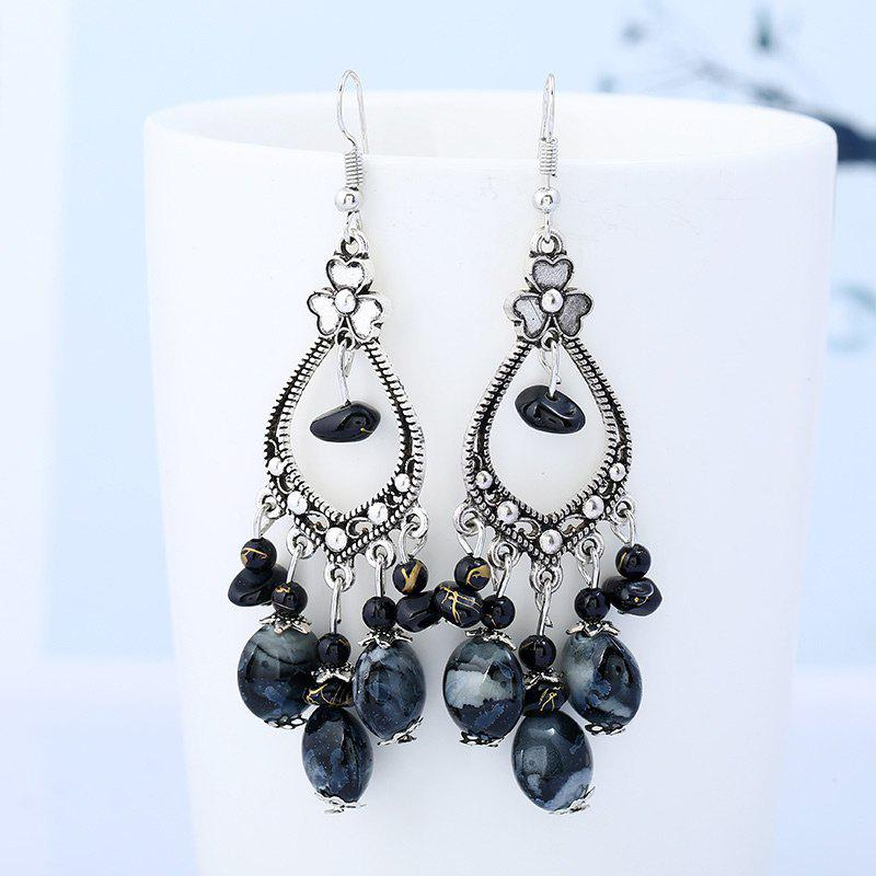 Bohemia Beaded Tassel Flower Design Dangle Earrings - BLACK