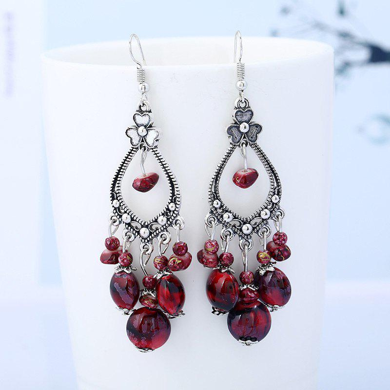 Bohemia Beaded Tassel Flower Design Dangle Earrings - RED