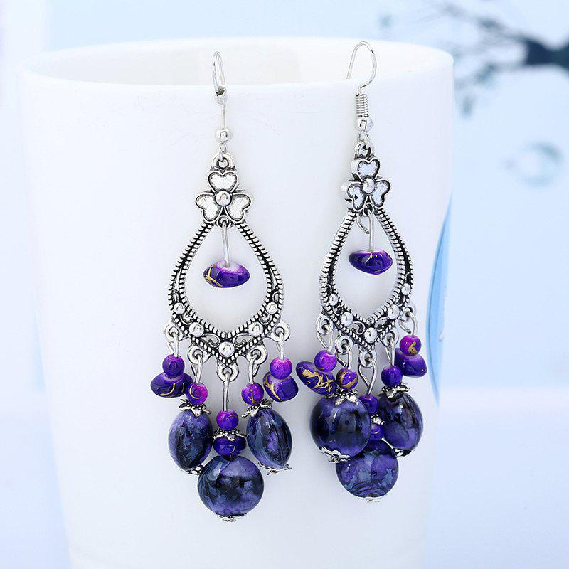 Bohemia Beaded Tassel Flower Design Dangle Earrings - PURPLE