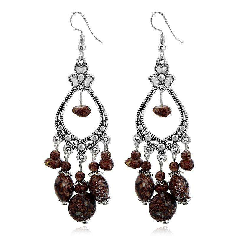 Bohemia Beaded Tassel Flower Design Dangle Earrings - COFFEE