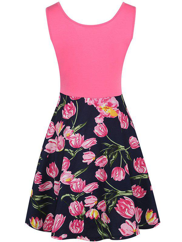 Sleeveless Fit and Flare Floral Print Dress - COLORMIX XL