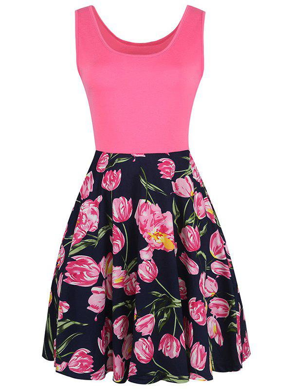 Sleeveless Fit and Flare Floral Print Dress - COLORMIX L