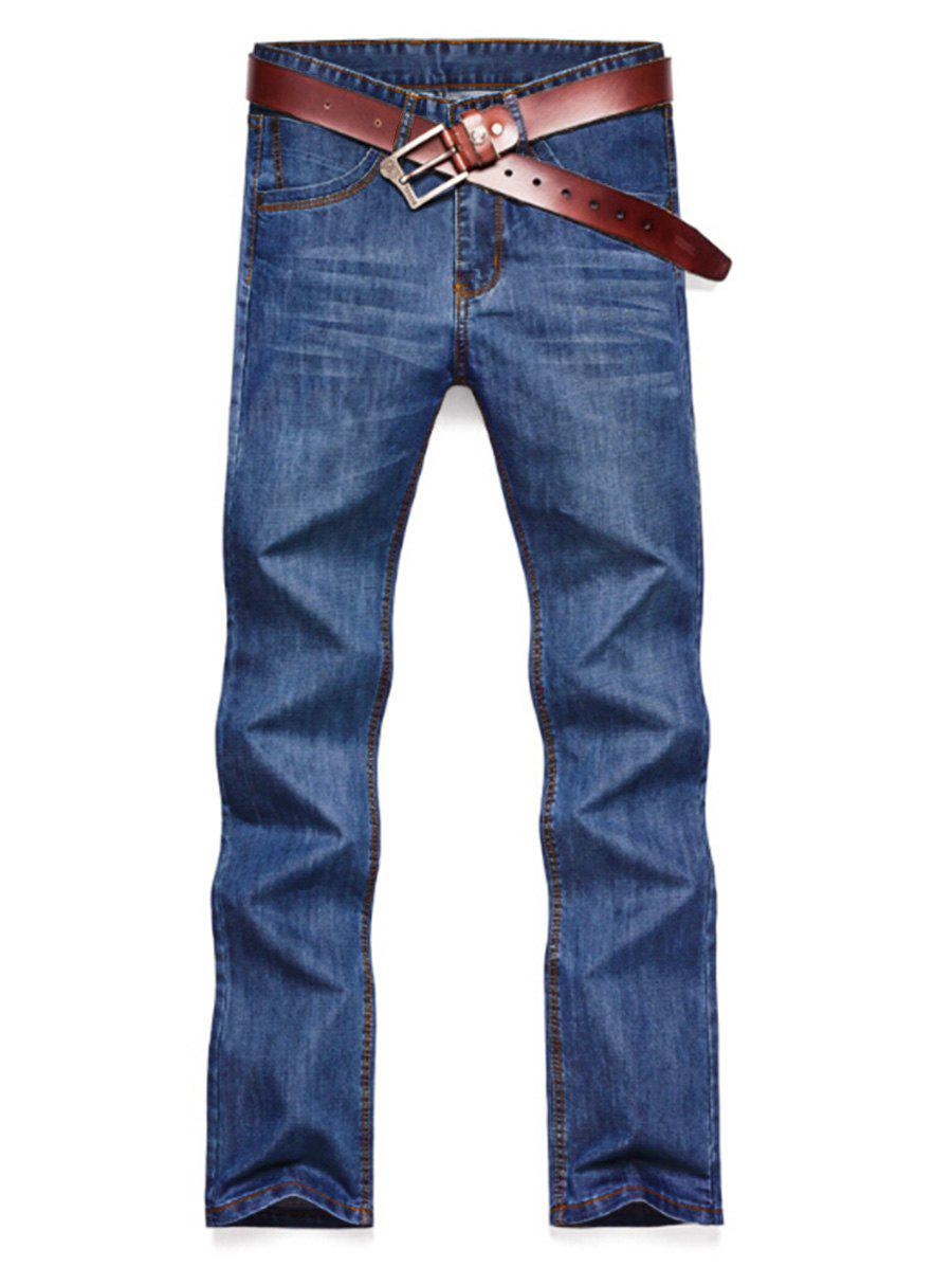Straight Leg Faded Wash Slim Fit Jeans - BLUE 30
