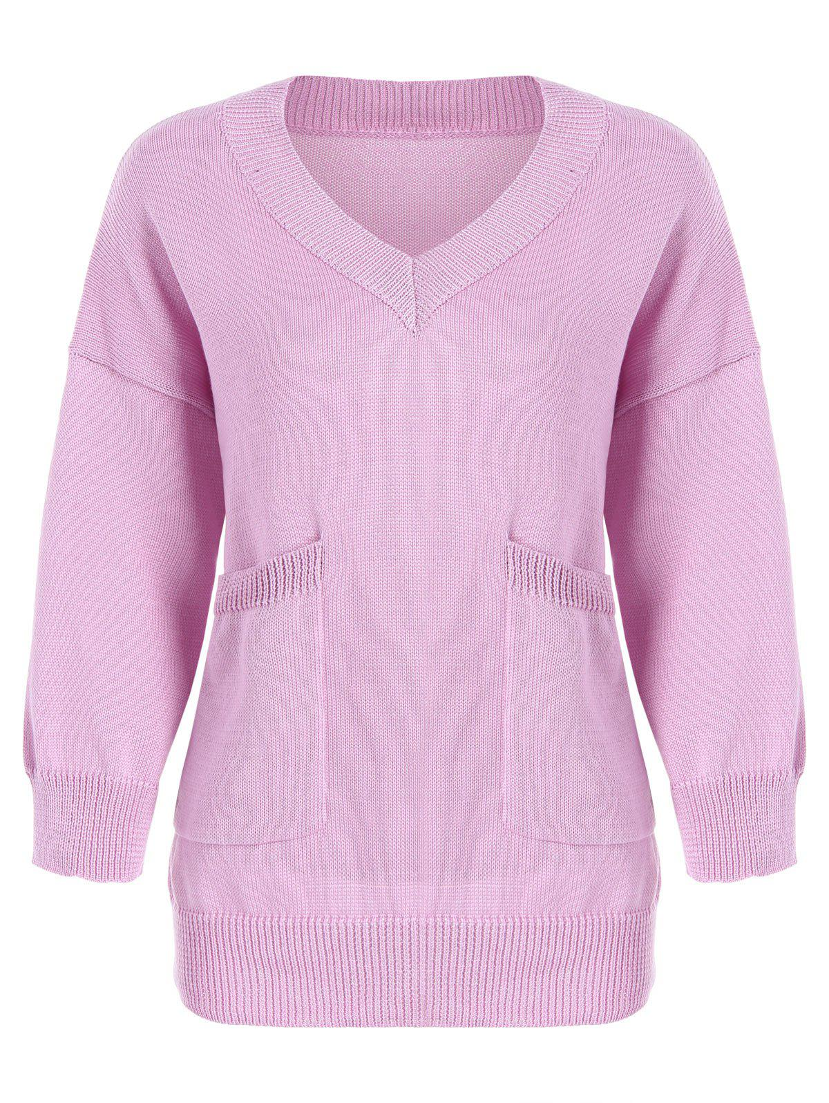 Plus Size V  Neck Two Pockets Cocoon Sweater - PINK 5XL