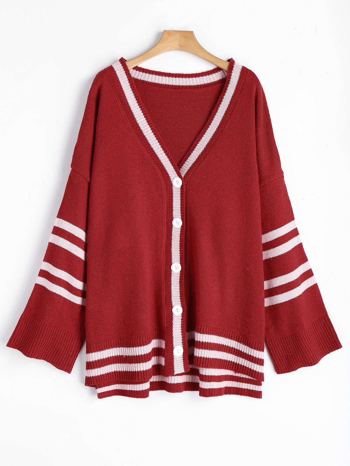 Striped Sleeve Plus Size Sweater Cardigan t100 children sweater winter wool girl child cartoon thick knitted girls cardigan warm sweater long sleeve toddler cardigan