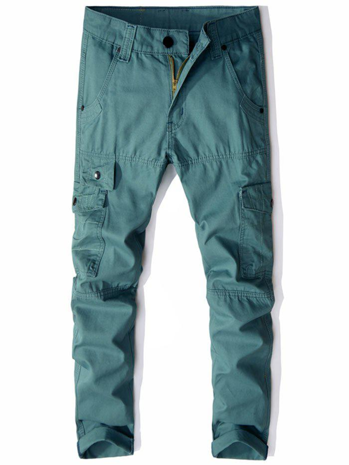 Casual Multi Pockets Zip Fly Straight Pants - Vert 36