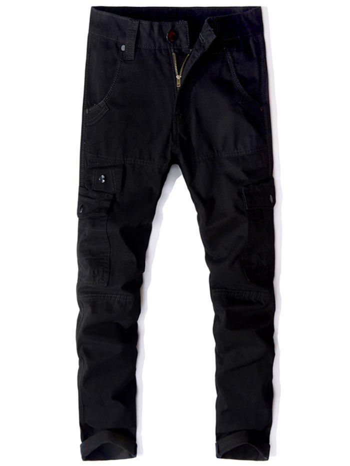 Casual Multi Pockets Zip Fly Straight Pants - Noir 32