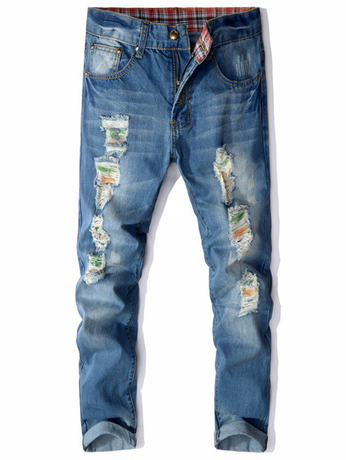Straight Leg Colored Distressed Jeans - BLUE 38