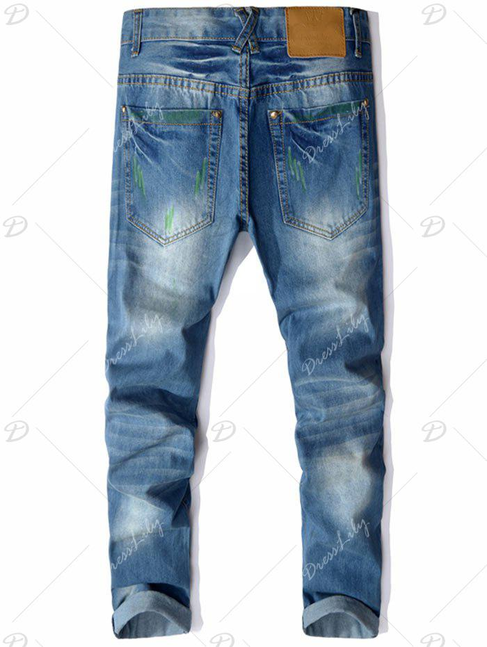 Straight Leg Colored Distressed Jeans - BLUE 32