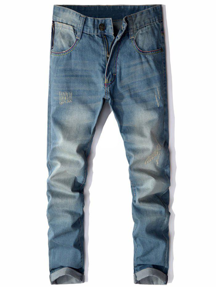 Zipper Pocket Straight Leg Distressed Jeans - LIGHT BLUE 34