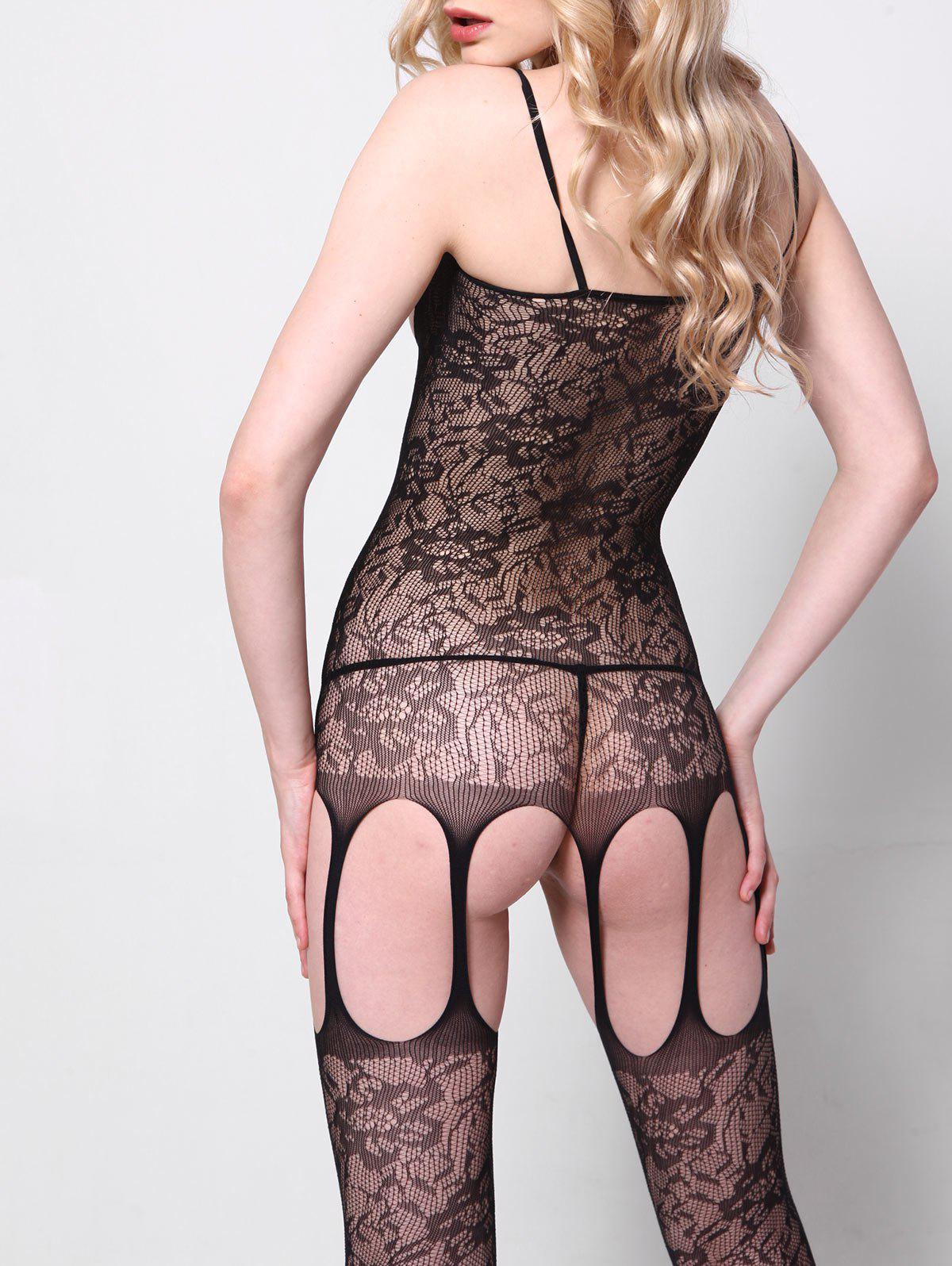 See Through Fishnet Cut Out Bodystockings - Noir ONE SIZE