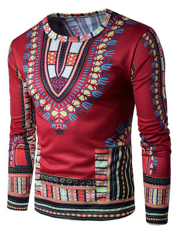 Ethnic Style Florals Print Long Sleeve T-shirt цена