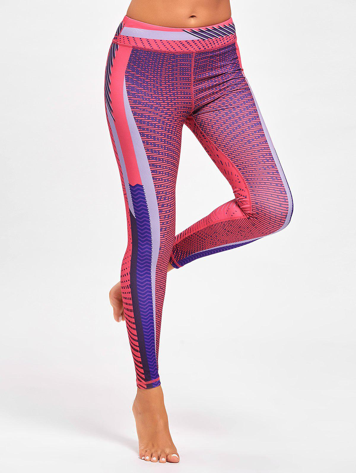 Colorful Stripe Funky Gym Leggings - ROSE RED M